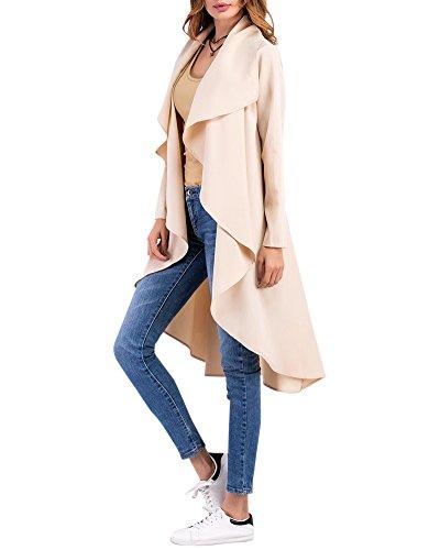 Casual Manche Manteau Femme Long Longue Cardigan Veste Saison Ample Mi Abricot Fluide wTxRO6