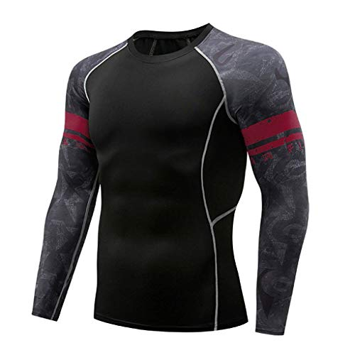 Outique Fashion Athletic T-Shirt,Men's Long Sleeve Yoga Fitness Print Soft Top Blouse Workout Running Jacket Sleeves Wine ()