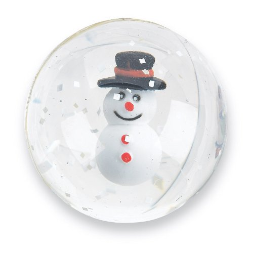 SmileMakers 35mm Happy Snowman Bouncing Balls - Christmas Prizes 24 per Pack