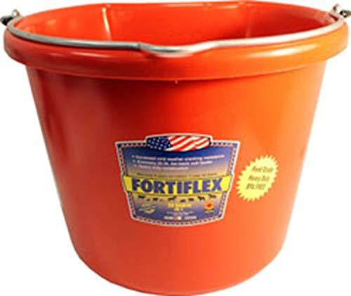 Fortiflex Flat Back Feed Bucket for Horses, 20-Quart, Red by Fortiflex