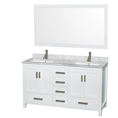 Wyndham Collection Sheffield 60 inch Double Bathroom Vanity in White, White Carrera Marble Countertop, Undermount Square Sinks, and 58 inch Mirror