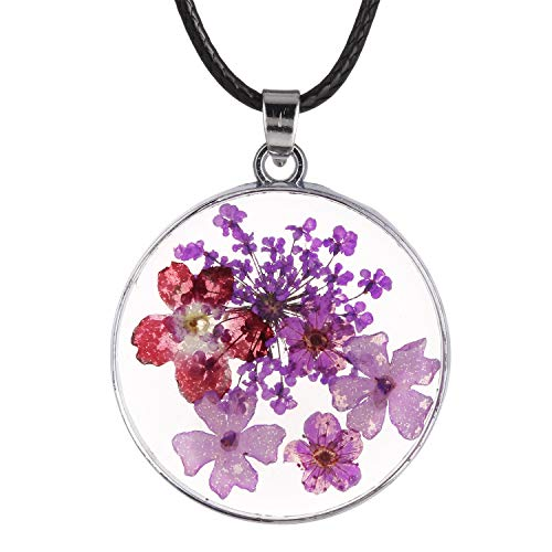 FM FM42 Multi-Colored Pressed Flower Round Pendant Necklace with 19