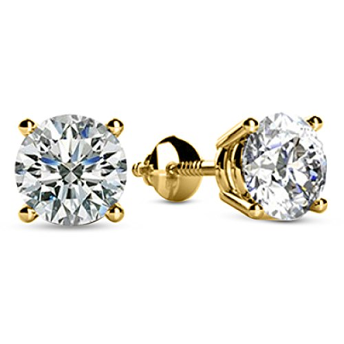 1 Carat Total Weight White Round Diamond Solitaire Stud Earrings Pair set in 14K Yellow Gold 4 Prong Screw Back (H-I Color I1 Clarity)