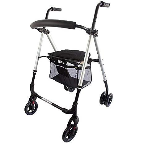Mobiclinic, Modelo Dehesa, Andador para minusvalidos, adultos, mayores o ancianos, de aluminio, ligero, plegable, con asiento y 4 ruedas, Color Gris ...