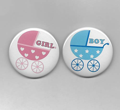 ink Girl Baby Buggy Carriage Gender Reveal Baby Shower Party Favors Pin Back Buttons Round Pinback Set of 20 ()