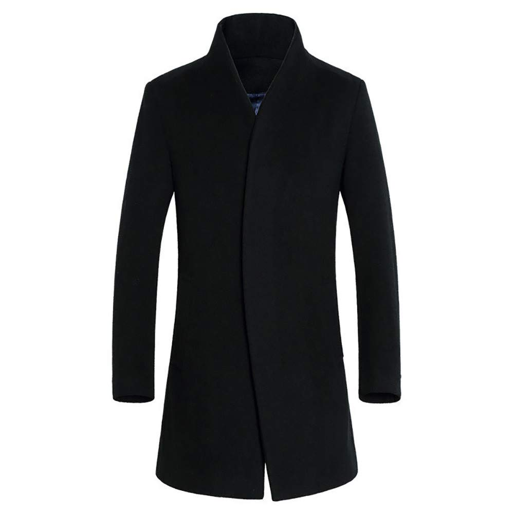 MODOQO Mens Long Jacket Button Outwear Long Sleeve Casual Coats for Warm Winter