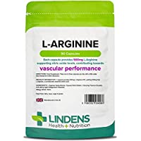 Lindens L-Arginine 500mg Capsules | 90 Pack | an Amino Acid Supplement in an Easy to Swallow, Rapid Release Capsule