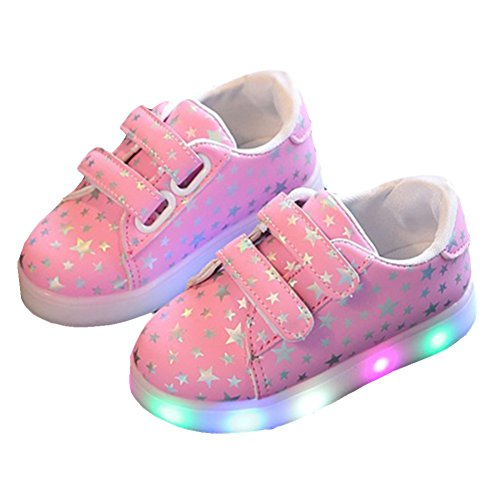 LED Shoes Girls/Boys, FAVOLOOK Kids Baby Flat Running Walking School Shoes Luminous Light Up Antislip Safety Cute Star Leather Casual Sneakers (UK 5, Pink)
