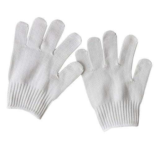 (Quaanti Anti-Cut Glove,New Level 5 Safety Cut Proof Stab Resistant Stainless Steel Metal Mesh Butcher Glove Workplace Safety (White))