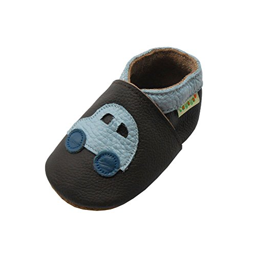 Sayoyo Baby Car Soft Sole Leather Infant Toddler Prewalker Shoes (12-18 months, Dark Brown)