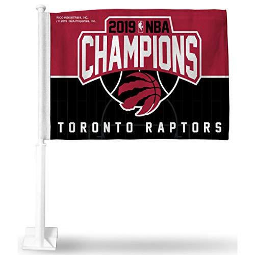 Rico Industries NBA Toronto Raptors 2019 Basketball Champions Car Flag, with White Pole
