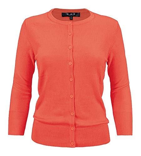 (YEMAK Women's 3/4 Sleeve Crewneck Button Down Knit Cardigan Sweater CO079-FST-S )