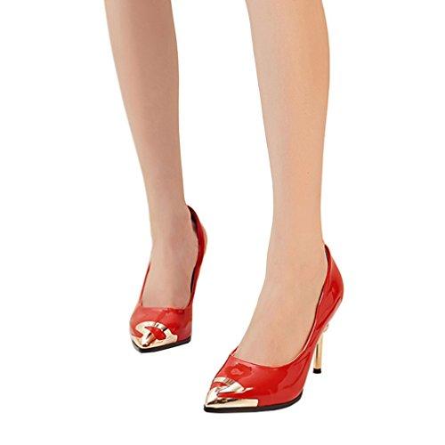 ENMAYER mujeres tacones de cuero de tacón alto puntiagudo Slip-on bombas de decoración de metal de estilete Rojo