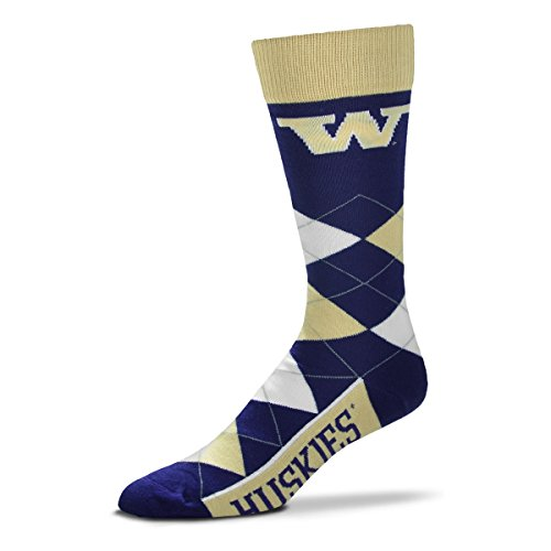 For Bare Feet NCAA Argyle Lineup Unisex Crew Dress Socks-One Size Fits Most-Washington Huskies