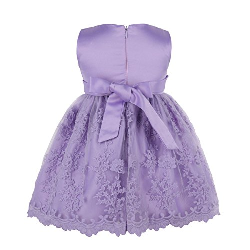 YiZYiF Girl Dress for Purple Embroidered Baby Tutu Lace Birthday Party Flower Light Bow Pageant Princess Sleeveless 55rqH