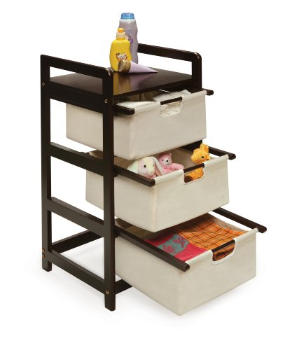 046605117002 - Badger Basket Three Drawer Hamper/Storage Unit, Espresso/Canvas carousel main 1