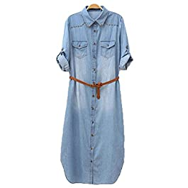 Pinkyee Distressed Rivet Denim Long Shirt Dress Leather Belt Light Blue