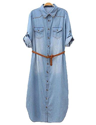 Ladies Denim Dress (Pinkyee Distressed Rivet Denim Long Shirt Dress with Leather Belt Light Blue)
