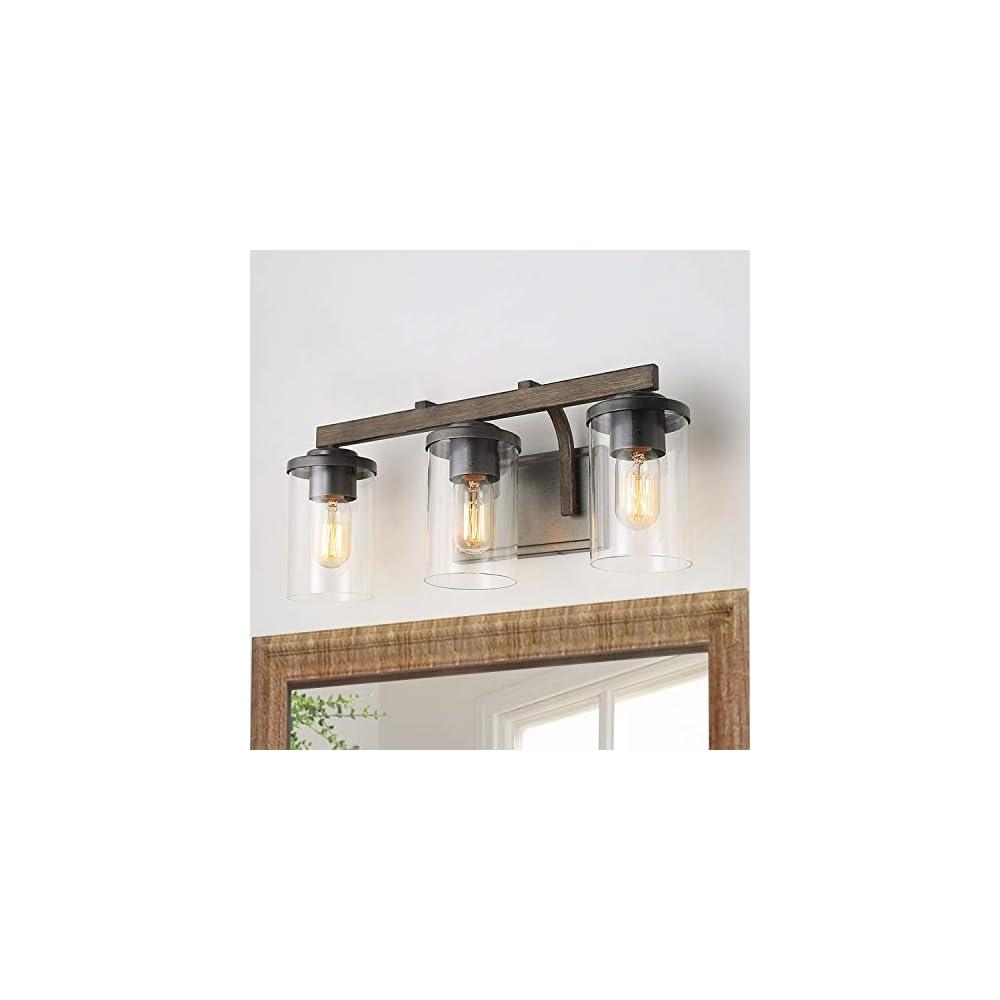 LNC Bathroom Light Fixtures, Farmhouse Vanity Light with Clear Glass Shades, 3 Lights Wooden Wall Sconce for Bathroom…