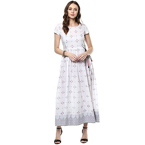 Indian Virasat Women's Beautiful Printed Cotton Flaired Anarkali Small White Tunic Kurti by Indian Virasat