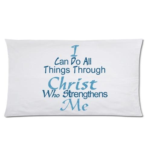 Christian Quotes theme I Can Do All Things Through Christ Who Strengthens Me Rectangle Decorative Pillow Cases Pillow Cover Standard Size 20x36 (two side) by Quotes Theme Pillowcase