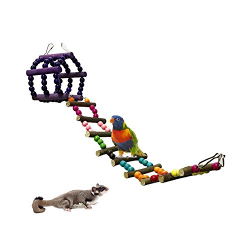 Pet Bird Parrot Toy Climbing Ladder Parrot Hamster Log Swing Hanging Bridge Toys Standing Birds Chew Toy (A) by Zaptex