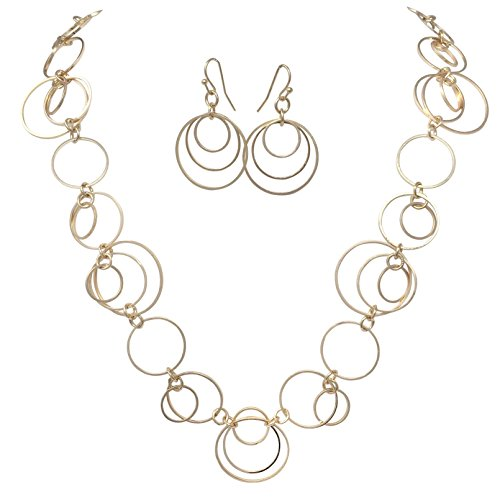 Gypsy Jewels Thin Circles Lightweight Simple Boutique Necklace & Earring Set - Assorted Colors (Gold Tone)