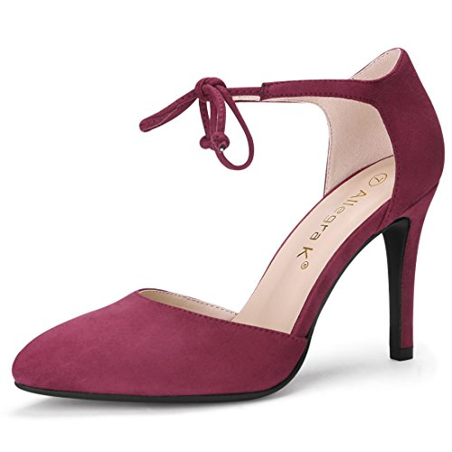 Allegra K Women's Ankle Tie Burgundy Pumps - 5.5 M US - Ankle Tie Pump