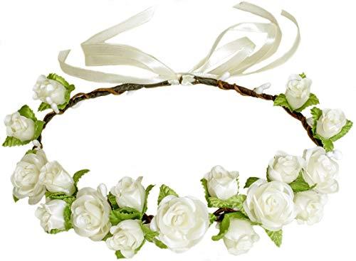 Flower Crown Floral Girls Headband - Ivory Headpiece Womens Wedding Bridal - Wreath Artificial Silk Roses -
