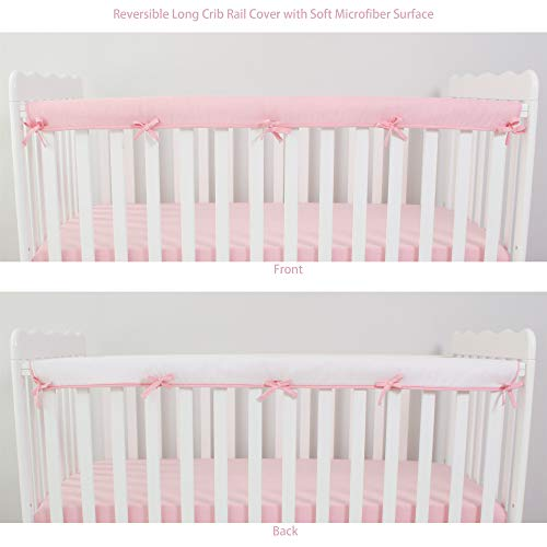 CaSaJa Soft Reversible Microfiber Crib Rail Cover for Long Rail, Safe Breathable Batting Inner for Baby Teething Guard, Pink/White, Fits Up to 8