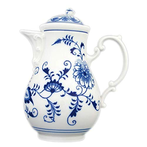 Blue Onion Porcelain - Traditional Coffee Pot 0.90l Capacity, Ideal for Gift, Hand-Made Using Traditional Techniques, Unique serveware for Coffee and Tea, 10