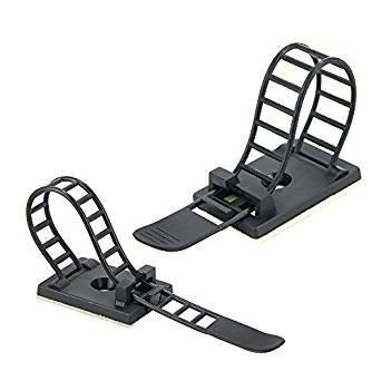 Kbnian 20pcs Clips de Cable Bridas Ajustables,Abrazaderas de Cable,3M Autoadhesivo Cable Tie