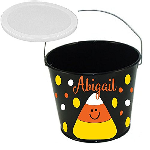 De La Design Gifts Personalized Halloween bucket black with candy corn, name and polka dots, 5 quart metal with plastic lid