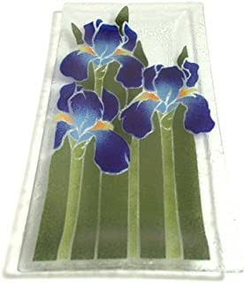 product image for Peggy Karr Handcrafted Art Glass Iris Serving Tray, Rectangular, 14-Inch