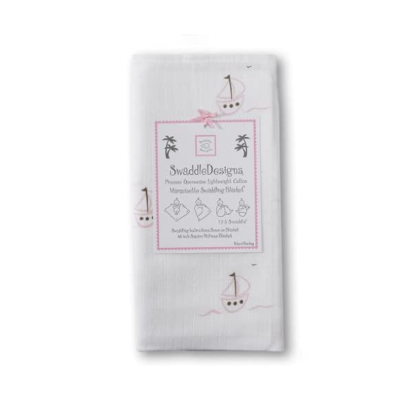 SwaddleDesigns Marquisette Swaddling Blanket, Premium Cotton Muslin, Pink Sailboats
