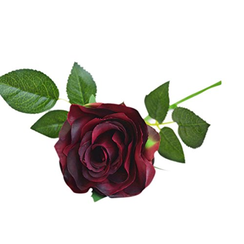 Compia Rose Fake Artificial Silk Flower Wedding Party Bridal Bouquet Home Decor 10 Heads (Wine)