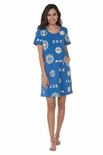 "M.Mac's ""Suns of Hawaii"" 2 Pocket Knee Length Dress in Royal w Yellow-3X"