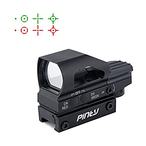Pinty Red & Green Dot Sight 4 Reticles Reflex Sight, Adjustable Brightness, New Design ON & OFF Switch with 20mm Rail (Ar 15 Mini Red Dot)