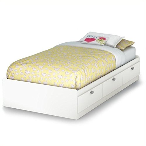 South Shore Spark Mates Bed with 3 Drawers, Twin 39-Inch, Pure White with Satin Zinc Handles