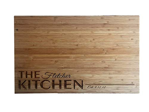 Personalized Wedding Gifts Cutting Board - Wood Cutting Boards, Also Bridal Shower and Housewarming Gifts (11 x 17 Single Tone Bamboo Rectangular, Fletcher Design)]()