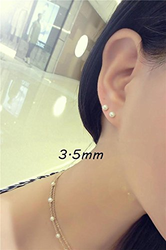 Generic s925 silver mini earrings natural pearl nearly perfect circle women girls lady Japanese and Korean Beautiful temperament simple everyday