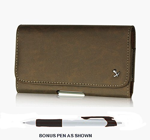 Classic Brown Smooth Bold PU Leather Design Horizontal Belt Clip Magnetic Closing Flap Holster Pouch Case for NOKIA LUMIA 635 + A Bonus Long Arch Black White Ball Point Pen + A Bonus 4