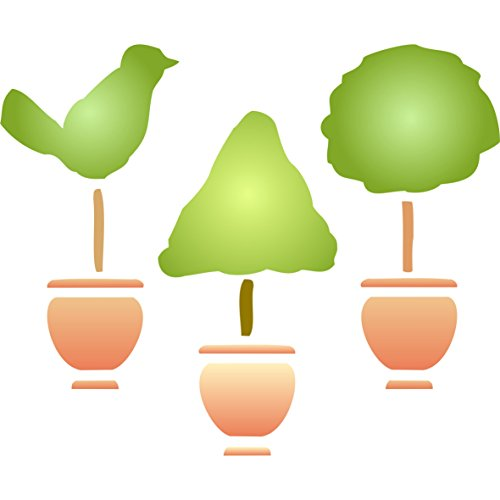 3x Topiary Stencils - Bundle - Cone + Bird + Ball Designs - Reusable Wall Stencils - Best Quality Topiary Stencil Ideas - Use on Walls, Floors, Fabrics, Glass, Wood - Topiary Holiday