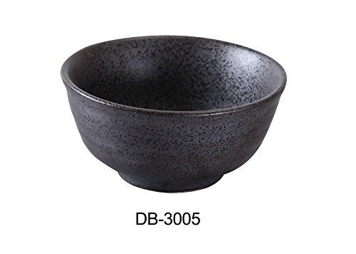 "Yanco DB-3005 Diamond Black Collection 4.5"" Rice Bowl 10 oz, 2.25"" Height, Matte Glaze (Pack of 36)"