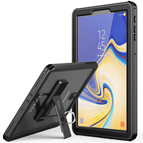 Samsung Galaxy Tab S4 Waterproof Case, Temdan IPX8 Waterproof case with Built-in Screen Full-Body Kickstand Rugged Protective Case for Galaxy Tab S4 10.5 inch 2018 (SM-T830/T835/T837) (Black) (Samsung Galaxy Tablet Sports Case)