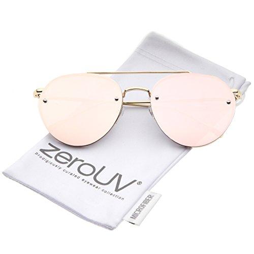 zeroUV - Modern Slim Temples Brow Bar Rimless Pink Mirror Flat Lens Aviator Sunglasses 59mm (Gold / Pink - Lens Aviator Flat Sunglasses