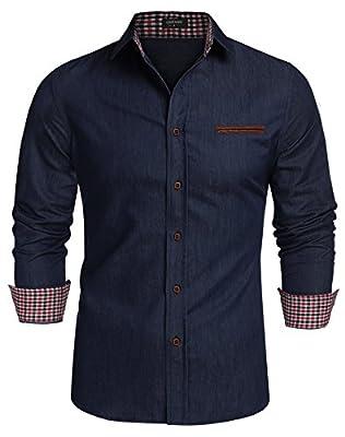 Gotchicon Mens Classic Long Sleeve Dress Shirt Plaid Contrast Casual Button Shirt