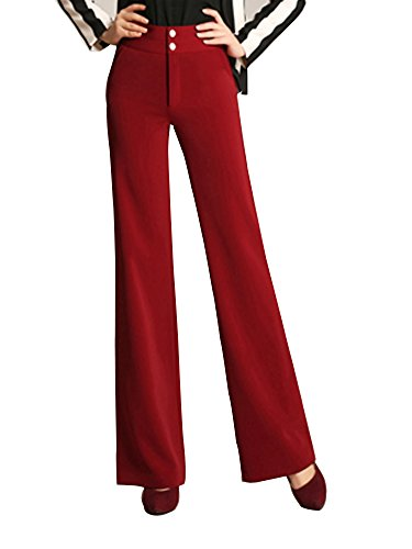 Women's High Waist Boot-Cut Pants Palazzo Pants Slacks Office Work Wide Leg Suit Pants Red Tag 34-US 12 by Gooket