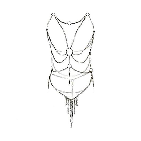Lingerie pour femme Adesugata – Body sexy – Ensemble de sous-vêtements ouverts – Harnais chaînons en fer Tentation…