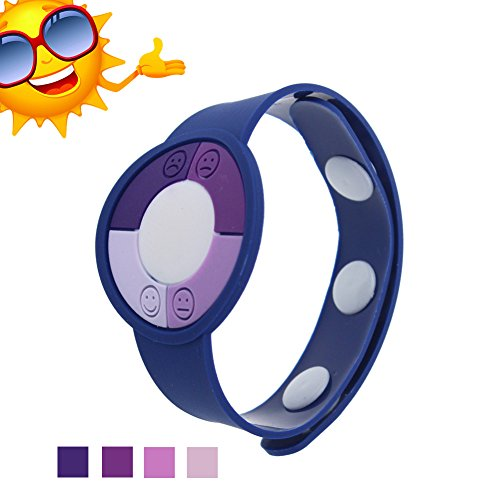 Wemelody 3PCS/Lot Outdoor UV Tester Band Bracelet Meter Watch Ultraviolet Rays Sensor Indicator Detector Color Changing Best Gift for Friends/Relatives and Loves Skin Protection(Dark Blue)